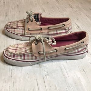 Sperry Bahama Raspberry Seersucker boat shoes.